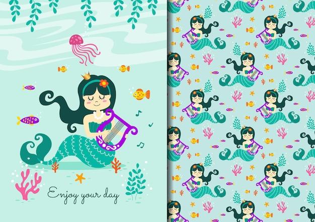 Desenhado à mão infantil sem costura padrão definido com sereia tocando música com amigos
