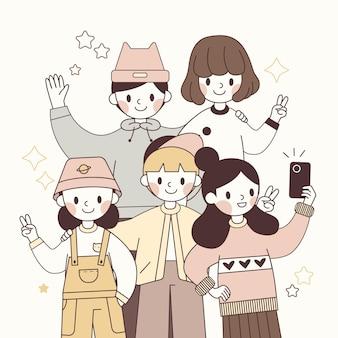Desenhado à mão jovens personagens japoneses