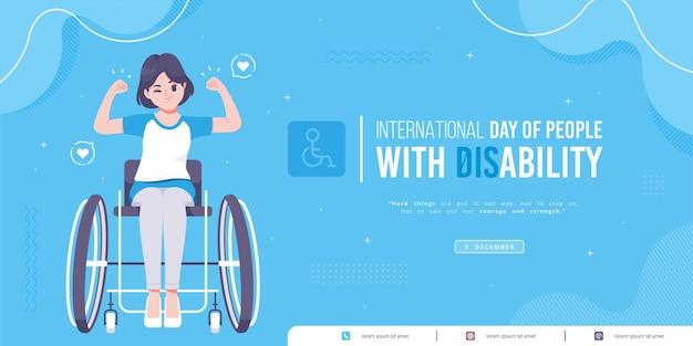 Desenhado à mão modelo de banner do dia internacional da deficiência