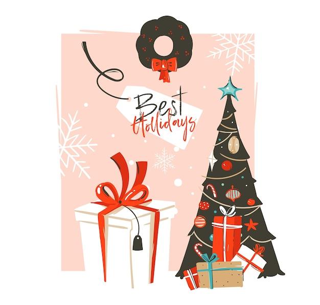 Desenhado à mão modelo de cartão feliz natal e feliz ano novo com ilustrações de desenhos animados vintage com árvore de natal, caixa de presente e texto tipográfico isolado