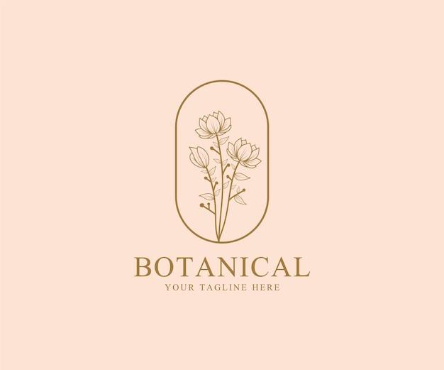 Desenhado à mão modelo de logotipo botânico floral mínimo de beleza feminina para cuidados com os cabelos da pele do salão de spa