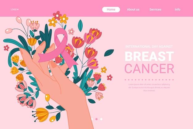 Desenhado à mão modelo de página de destino do dia internacional contra o câncer de mama