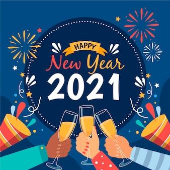 Desenhado à mão no ano novo de 2021