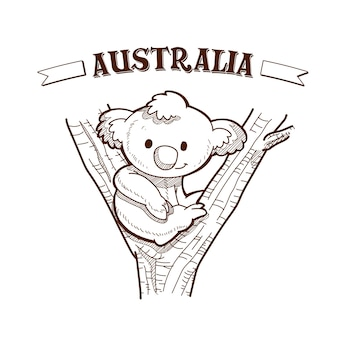 Desenhado à mão no dia da austrália com um coala sentado na árvore