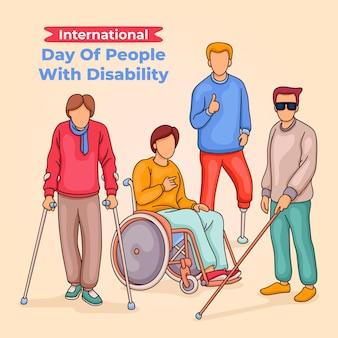 Desenhado à mão no dia internacional das pessoas com deficiência