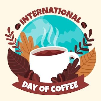 Desenhado à mão no dia internacional do café