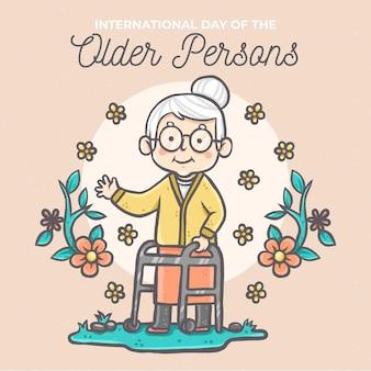 Desenhado à mão no dia internacional dos idosos