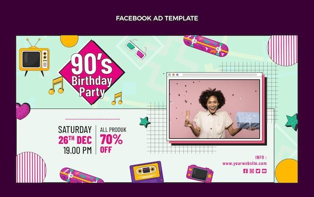 Desenhado à mão no facebook nostálgico do aniversário dos anos 90