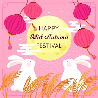 Desenhado à mão no festival do meio do outono com coelhos e lua