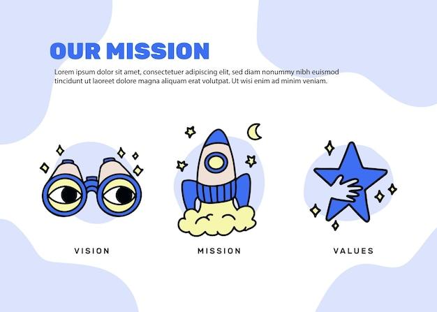 Desenhado à mão nosso conceito de missão ilustrado