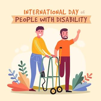 Desenhado à mão o dia internacional das pessoas com deficiência