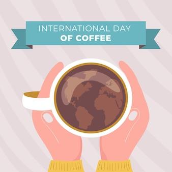 Desenhado à mão o dia internacional do café com a caneca e as mãos