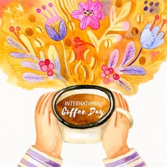Desenhado à mão o dia internacional do café com as mãos segurando uma xícara