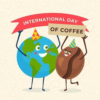 Desenhado à mão o dia internacional do café com globo e feijão
