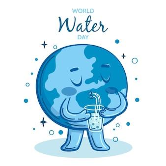 Desenhado à mão o dia mundial da água ambiental