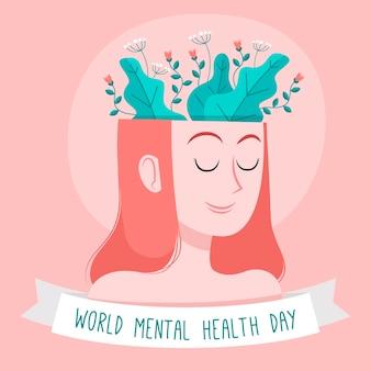 Desenhado à mão o dia mundial da saúde mental com a cabeça da mulher e as plantas