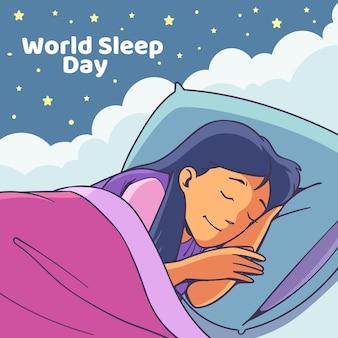 Desenhado à mão o dia mundial de sono com uma mulher dormindo
