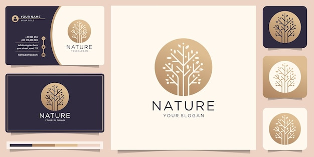 Desenhado à mão o logotipo da natureza e uma árvore moderna em círculo e cartão de visita