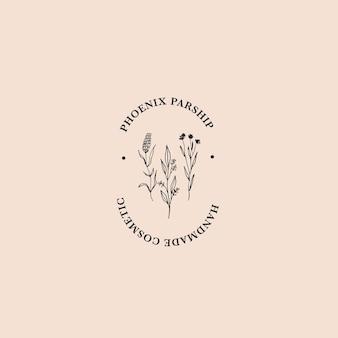 Desenhado à mão o logotipo floral estético com uma bela flor do prado rústica e folhagem.