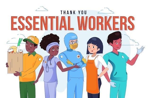 Desenhado à mão, obrigado, trabalhadores essenciais