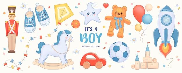 Desenhado à mão para bebê menino chuveiro convite com conjunto de elementos