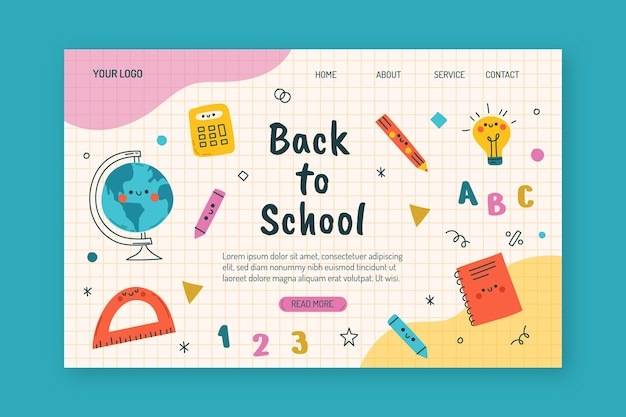 Desenhado à mão para o modelo da página de destino da escola