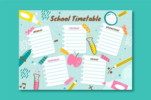 Desenhado à mão para o modelo de calendário escolar