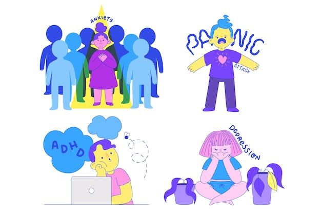 Desenhado à mão pessoas com problemas de saúde mental