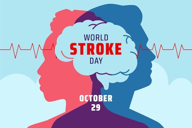 Desenhado à mão, plano de fundo do dia mundial de acidente vascular cerebral