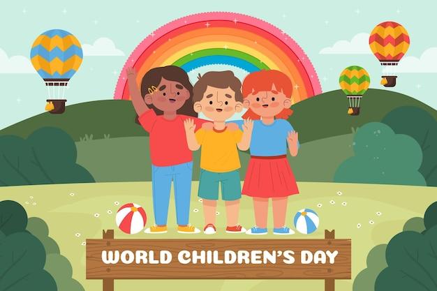 Desenhado à mão, plano de fundo do mundo plano das crianças