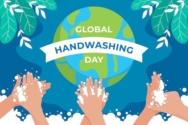 Desenhado à mão, plano de fundo plano global de lavagem das mãos