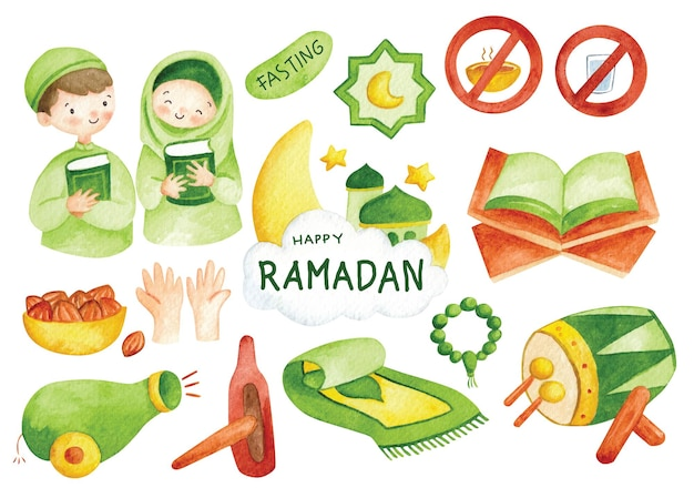 Desenhado à mão ramadã doodle clip-art em aquarela ilustração