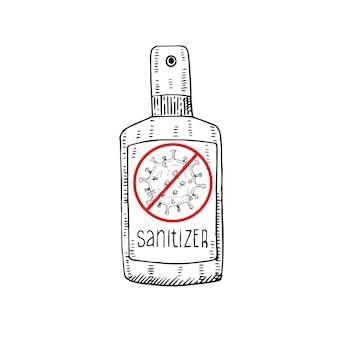 Desenhado à mão sanitizer spray anti-séptico isolado em um fundo branco. covid-19, novo coronavírus, 2019-ncov, solução desinfetante de vírus corona. Vetor Premium