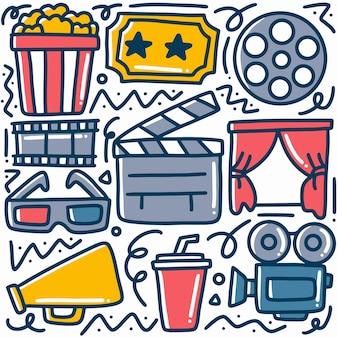 Desenhado à mão sobre doodle de cinema com ícones e elementos de design