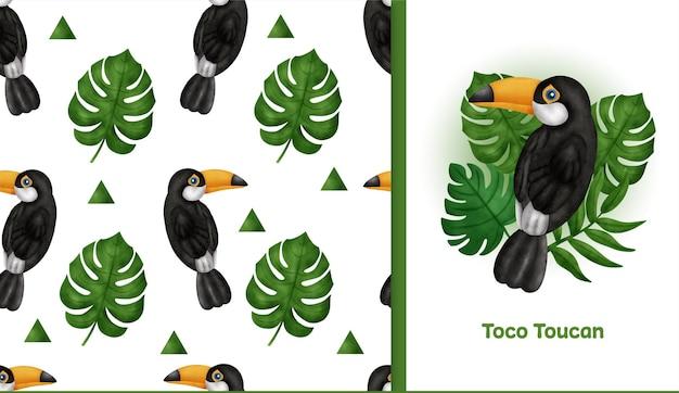 Desenhado à mão tropical com padrão sem emenda de toco tucano