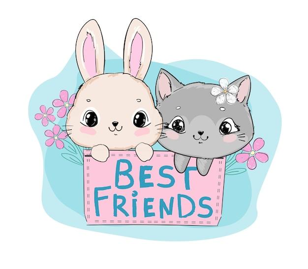 Desenhado à mão um gato fofo e um coelho sentado em um bolso com flores margaridas, frases escritas à mão, melhores amigos, ilustração