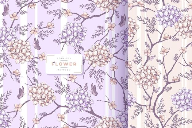 Desenhado à mão um lindo padrão floral chique gasto