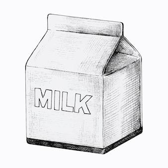 Desenhado à mão uma pequena caixa de leite