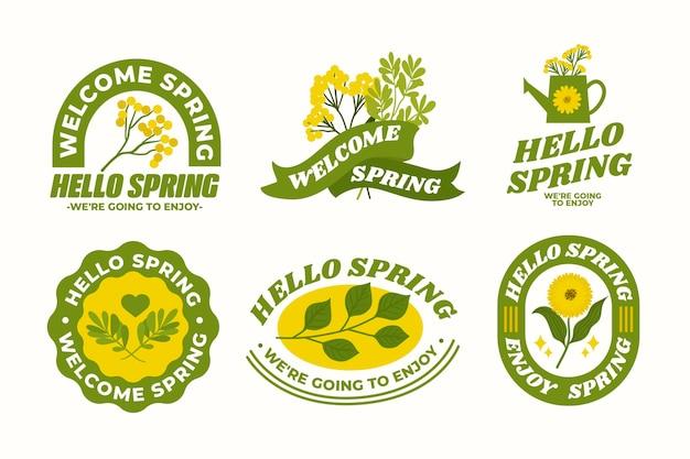 Desenhado coleção linda de crachás de primavera