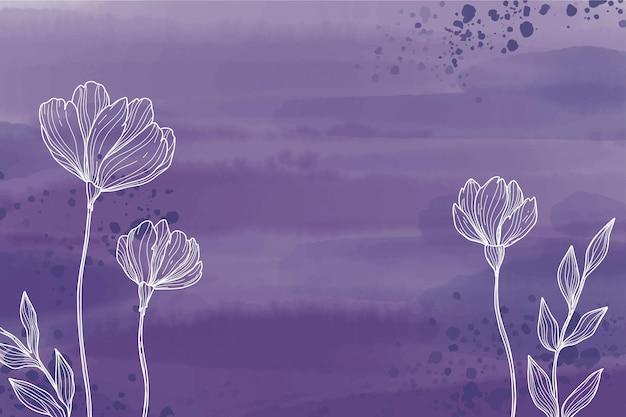 Desenhado com flores em aquarela de fundo