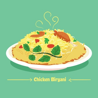 Desenhado com frango biryani delicioso no prato