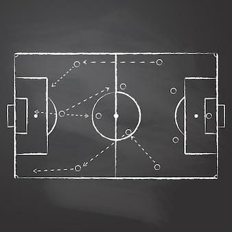 Desenhado com giz a marcação do campo de futebol e o esquema tático com jogadores de uma equipe e flechas de estratégia no quadro preto esfregado. um esquema tático de jogo de futebol