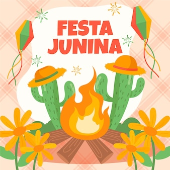 Desenhado festa junina conceito
