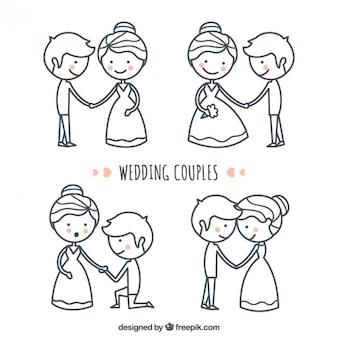 Desenhado mão adorável e bom conjunto pares do casamento