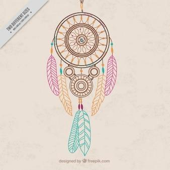 Desenhado mão apanhador de sonhos com fundo penas coloridas