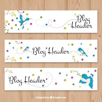 Desenhado mão blog cabeçalho com pássaro e flores