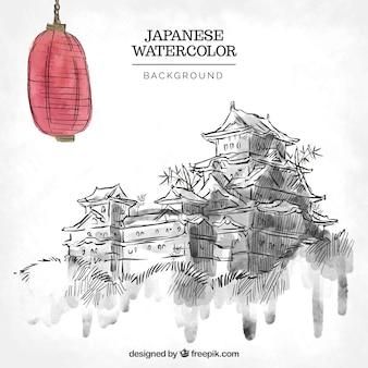 Desenhado mão casas japonesas fundo com lanterna