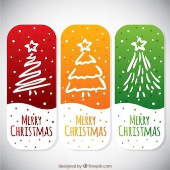Desenhado mão do natal bandeiras da árvore