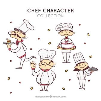 Desenhado mão, jogo, cozinheiro, caráteres