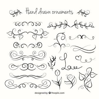 Desenhado mão ornaments a coleção